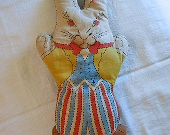 Soft Stuffed BUNNY RABBIT DOLL 1920 Antique Cuddly Kit Toy, Hand Stitched Outlines, Red Bow Tie Blue Vest Striped Pants, Cute Cotton Body