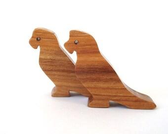 Wooden Parrot Animal Toy Waldorf Wood Toys Miniature Noah's Ark Animals Children's Toy Miniature Parrot Figurine
