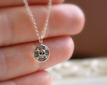 Boys Necklace, Sterling Silver, Skull and Crossbones, Rolo Chain, Child Children, Cute Charm, Halloween, Simple, Fun Pirate Jewelry