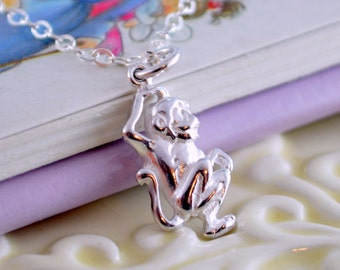 Little Monkey Necklace, Sterling Silver, Genuine Gemstone, Child Children Girl, Cute Fun Animal Charm, Real Birthstone Jewelry