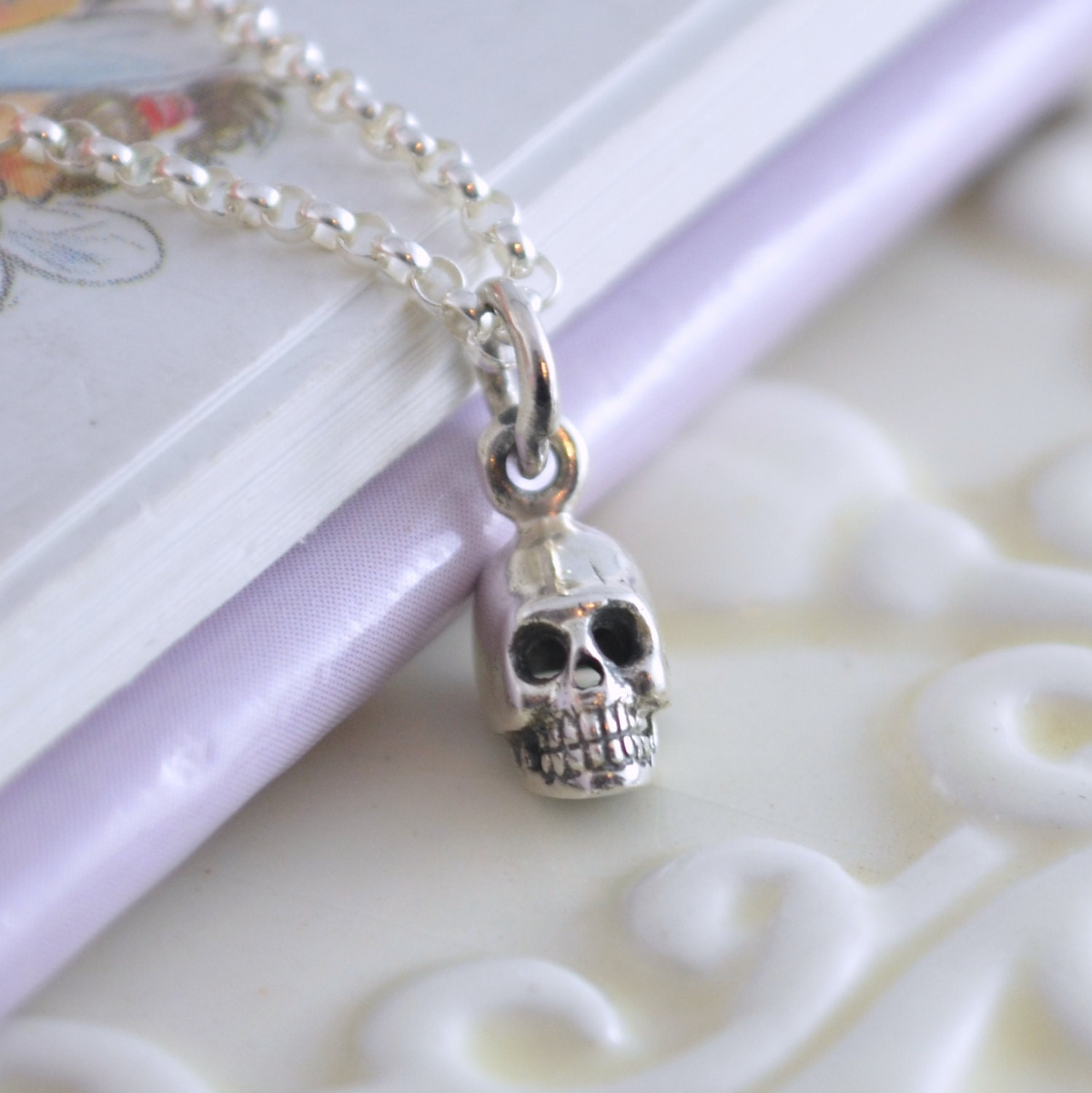 sterling silver skull necklace boys jewelry rolo chain