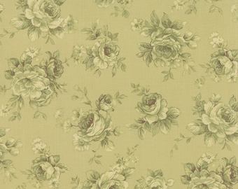 Roses & Chocolates - Tonal Roses in Green by Sentimental Studios for Moda Fabrics