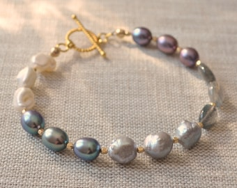 Real Pearl Bracelet, Labradorite, Peacock Purple, Druzy and Keishi Pearl, Sterling Silver or Gold Filled, Beaded Jewelry, Free Shipping