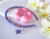 Purple and pink rondelle silver bracelet, lavender zircon rondelle and pink tourmaline silver bracelet, Christmas gift purple bracelet