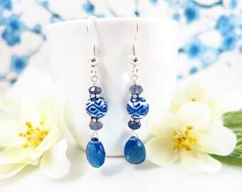 Blue Quartz Chinese Ceramic Dangle Earrings - Blue Chinese Ceramic Dangle Earrings - Chinese Blue Ornate Sterling Silver Earrings