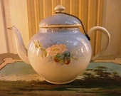 Enameled  French TEA POT Hand painted ROSES