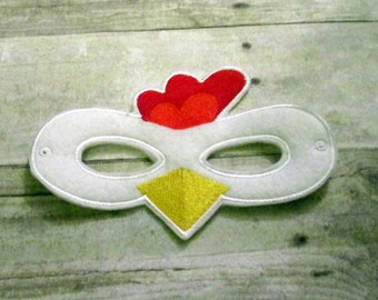 Felt Chicken Mask, Felt Mask, Mask, Kids Mask, Animal Mask, Party Mask, Felt Kids Mask, Dress Up Mask, Kids Animal Mask, Child Mask,