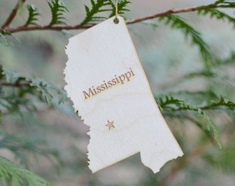 Natural Wood Mississippi State Ornament