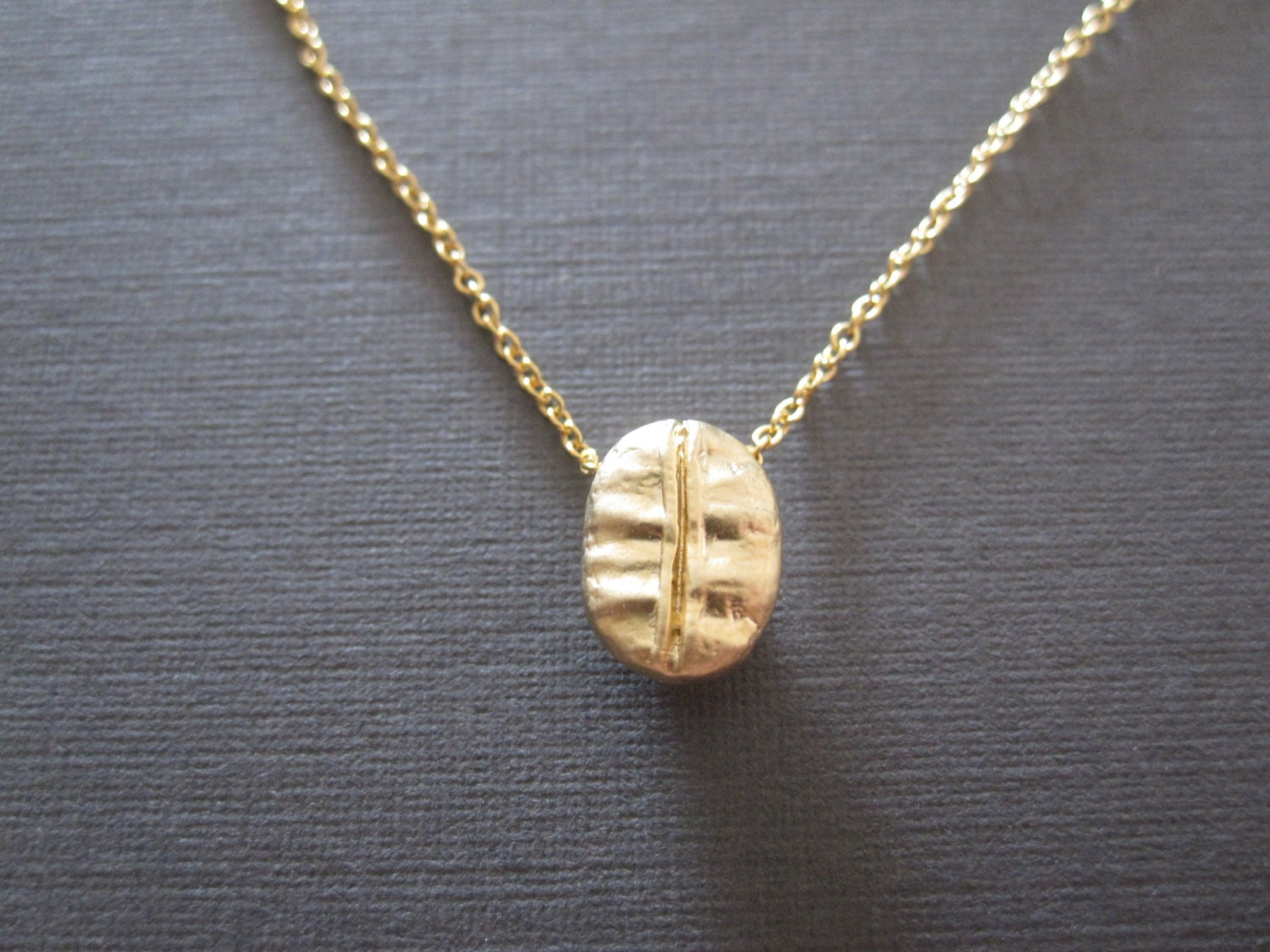 gold coffee bean necklace
