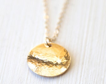 Large Domed Hammered Disc Necklace // layering everyday simple modern jewelry