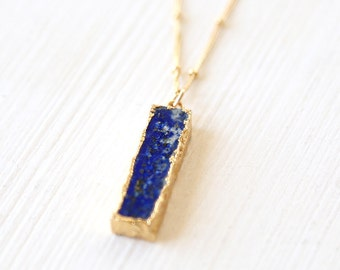 Lapis Slice Necklace / 14K Gold Filled / simple everyday modern bridal jewelry