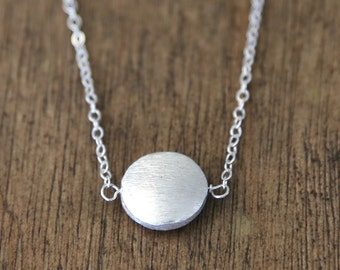 Sterling Silver Coin Circle Necklace // Simple everyday delicate layering jewelry