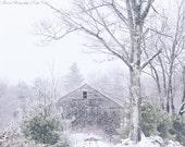 MAINE Photography ~ DENMARK Maine New England Rustic Barn Winter Snow Landscape Nature Scenic Art Photo Print