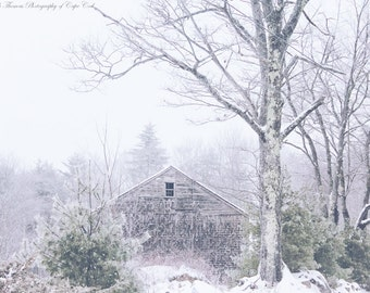 MAINE Photography ~ DENMARK Maine New England Rustic Barn Winter Snow Landscape Nature Scenic Art Photo Print