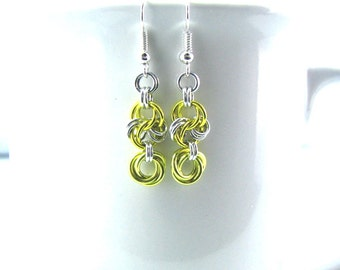 FINAL CLEARANCE Silver Light Chainmaille Earrings - Choose Your Color