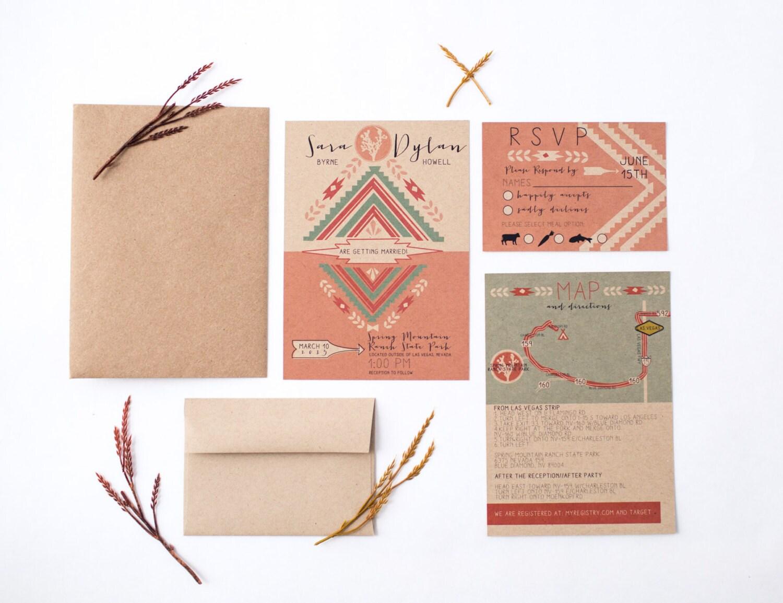 Southwestern desert joshua tree wedding invitation set for Joshua tree wedding invitations