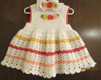 crocheted baby dress with matching headband w/ bow