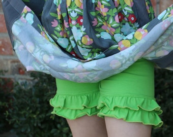 lime green bright green knit double ruffle shorts shorties bloomers sizes 12m - 14 girls