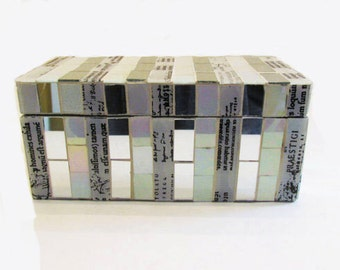 Mosaic Stained Glass and Mirror Iridescent Jewelry Box