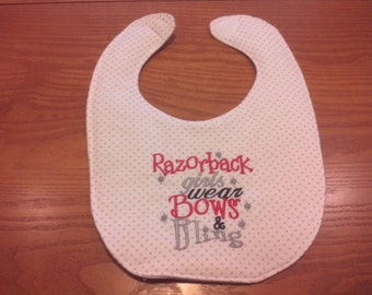 Arkansas Razorback Girls Wear Bows & Bling Embroidery Handmade Baby Bib