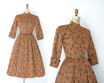 1950s Ceil Chapman Dress / 50s New Look Silk Brocade Dress