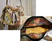 Handmade shoulder bag, Boho Bag, thick upholstery grade chenilles tapestrys, beads buttons lace embellished, zipper closure