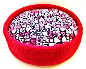 Cat Bed or Dog Bed Crochet Red With Love Cushion