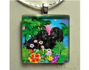 NEWFOUNDLAND DOGS TROPICAL necklace pet art gift pet 1 inch square glass tile pendant with chain