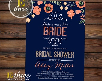 Bridal Shower Invitations - Navy, Peach and Pink Bridal Shower Invitations, Floral Shower #1061
