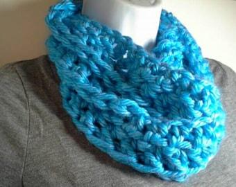 Blue Crocheted Chunky Infinity Scarf