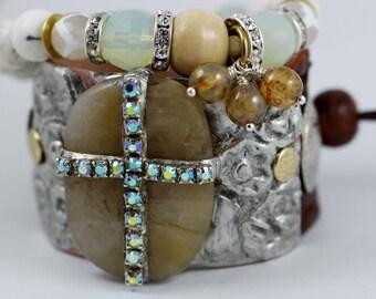 Boho leather Cuff Bracelet,Christian, Cross,unique bracelet, leather cuff bracelet
