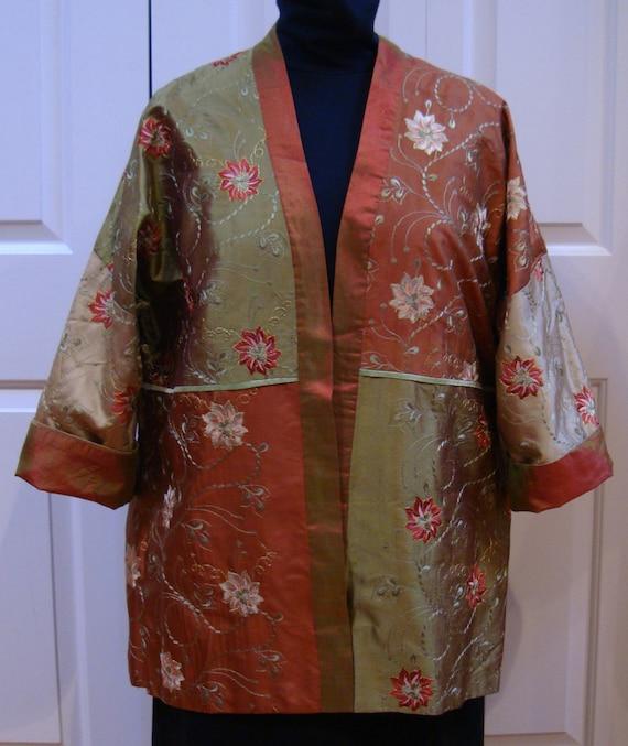 Embroidered Silk Kimono Jacket (XL)