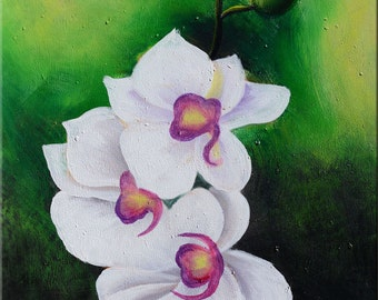 ORIGINAL Oil Painting Orchid 23 x 30 Flowers Modern White Green Floral  Blooms ART by Marchella