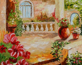 Original Painting Landscape  Textured Painting Italian Villa Summer Tuscany Palette Knife Painting Sunny Flowers Home decor ART by Marchella