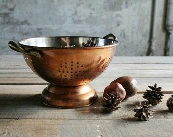 Vintage Footed Copper Colander