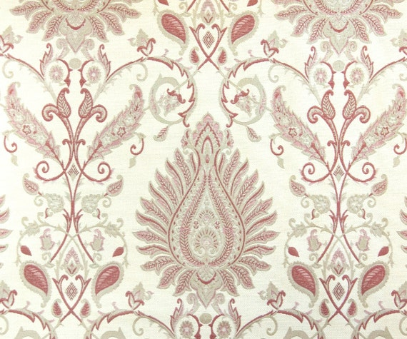 Red Damask Jacquard Weave Ri Fabric By The Yard Curtain Fabric