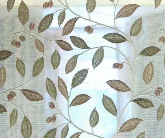 Items similar to ivory leaves embroidery sheer poly linen
