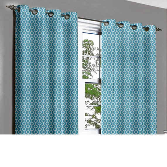 aqua white knotty grommet blackout lined curtain in textured