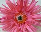 Pink Flower Green Eye Hair clip