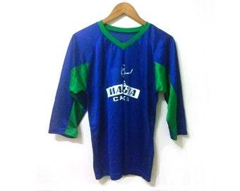 90s Grunge V Neck Blue and Green Sports Hockey Team Raglan Jersey Mar Vista Canucks #7