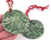 Christmas Bells Ornament Handmade Ceramic Tree Decoration Gift Tag Rustic Green Red Gold Set of Two