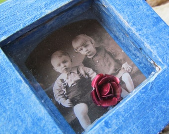 Mixed Media Trinket Box vintage photo Red Rose