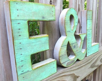 Wedding Letter Set - Small - with Ampersand, Rustic Wedding Decor - Initials - Custom - Personalized