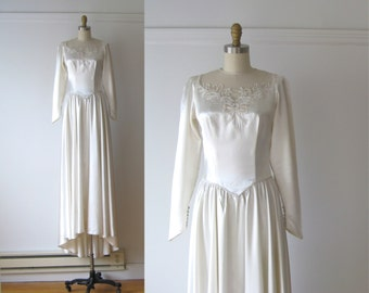 SALE vintage 1940s wedding dress / 40s silk wedding dress