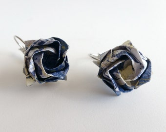 Blue Origami Rose Earrings, Japanese Earrings, Origami Jewelry, Asian Earrings, Handmade Paper Jewelry / Anniversary / Weddings / Romantic