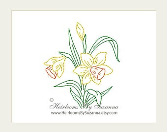 Floral Machine Embroidery Design - Flower - Narcissus - Redwork - Colorwork - Machine Quilt Embroidery Design - 3 Sizes - Flower No.8