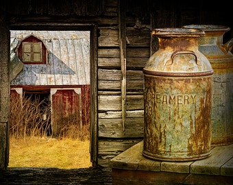 Window View of an Old Red Barn with Creamery Milk Cans a Rural Country Scene No.309832 - A Fine Art Still Life Photograph