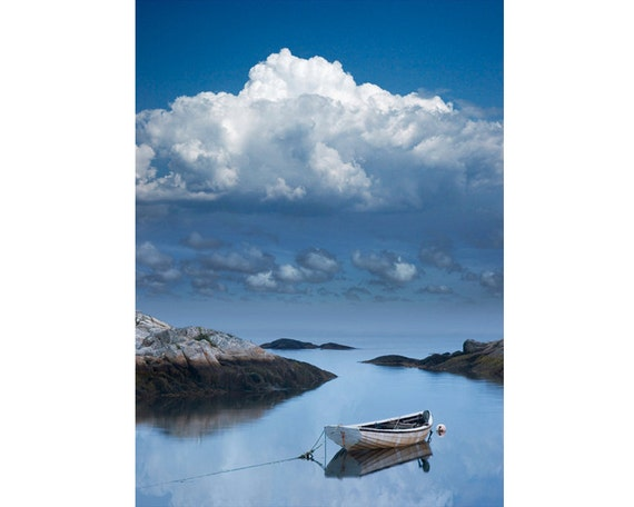 Seafarers Vision of an Anchored  Wooden Boat in the Calm of Peggy's Cove Harbor in Nova Scotia Canada - A Fine Art Boat Seascape Photograph