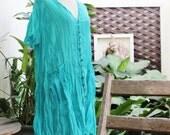 L-XL Comfy Roomy A-Shape Short Sleeves Blouse/ Short Tunic -  Sea Blue