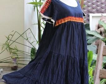Saranya Split Sleeve Short Tunic - Navy Blue